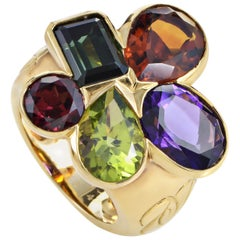 Dior Multi-Gemstone 18 Karat Yellow Gold Cluster Ring