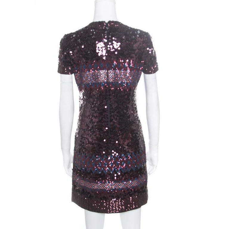 For times when you want to feel like your best self, Dior's dress will come to your assistance. This pretty creation will dazzle in light while offering comfort during a shindig. It is dripping with Aztec sequins all over exuding party-ready glamor