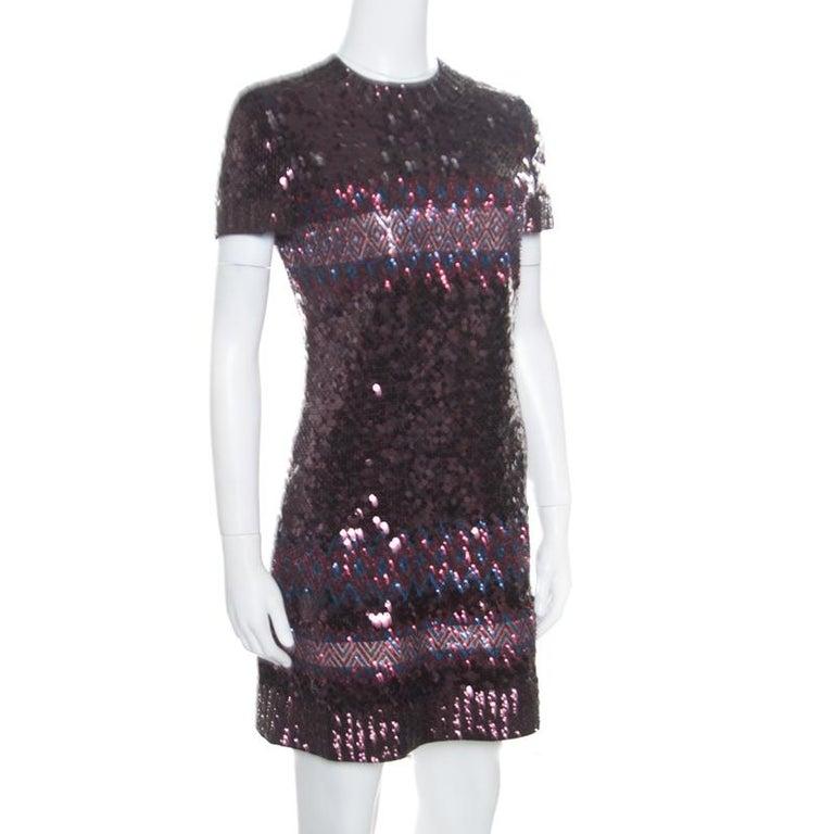 Dior Multicolor Aztec Sequin Embellished Short Sleeve Dress S In Good Condition For Sale In Dubai, Al Qouz 2