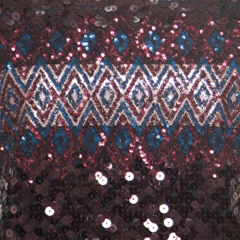 Women's Dior Multicolor Aztec Sequin Embellished Short Sleeve Dress S For Sale