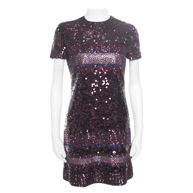 Dior Multicolor Aztec Sequin Embellished Short Sleeve Dress S For Sale