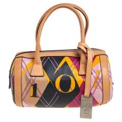 Dior Multicolor Canvas and Leather Argyle Boston Bag