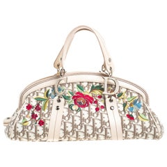 Dior Multicolor Floral Embroidered Diorissimo Fabric and Leather Frame Satchel