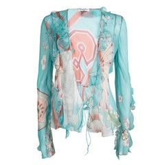 Dior Multicolor Floral Printed Long Sleeve Sheer Chiffon Blouse L