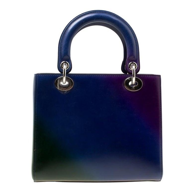 Dior Multicolor Leather Medium Ombre Lady Dior Tote For Sale 6