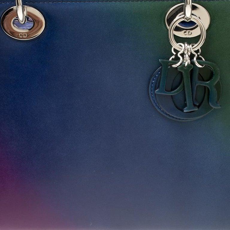 Dior Multicolor Leather Medium Ombre Lady Dior Tote For Sale 7