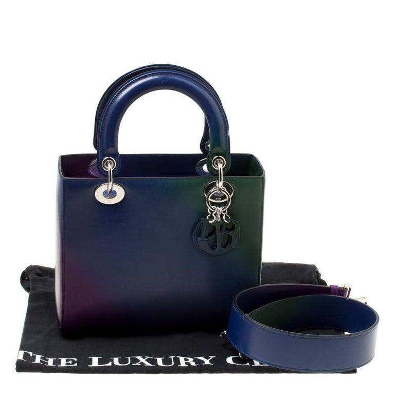 Dior Multicolor Leather Medium Ombre Lady Dior Tote For Sale 8