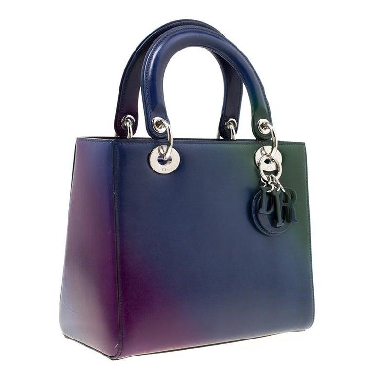 Dior Multicolor Leather Medium Ombre Lady Dior Tote In Good Condition For Sale In Dubai, Al Qouz 2
