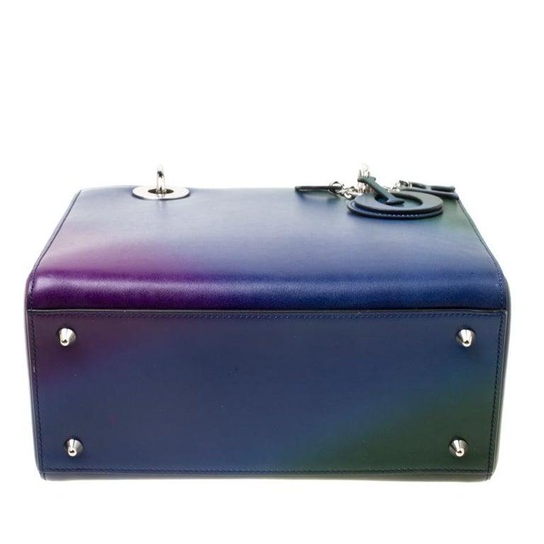 Dior Multicolor Leather Medium Ombre Lady Dior Tote For Sale 5
