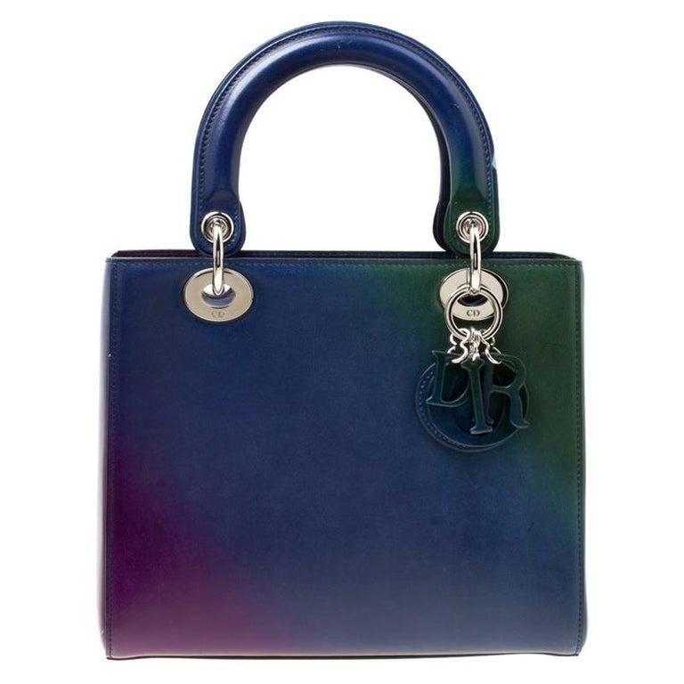 Dior Multicolor Leather Medium Ombre Lady Dior Tote For Sale