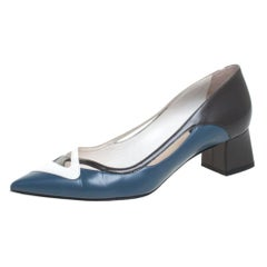 Dior Multicolor Leather Pointed Toe Block Heel Pumps Size 37