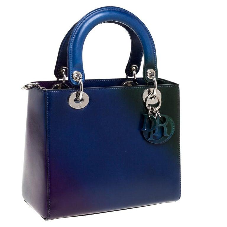 Dior Multicolor Ombre Leather Medium Lady Dior Tote In Good Condition In Dubai, Al Qouz 2