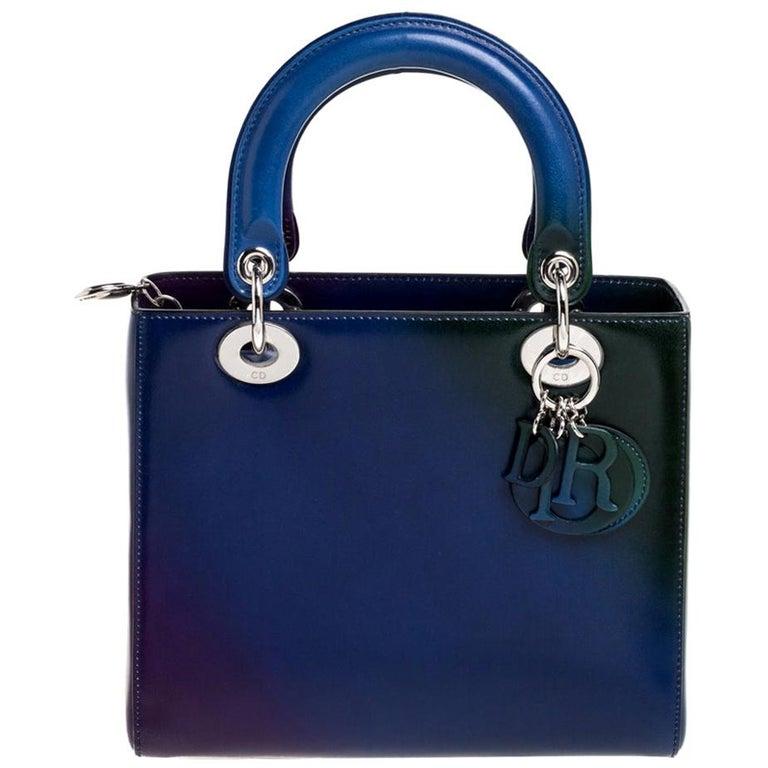 Dior Multicolor Ombre Leather Medium Lady Dior Tote