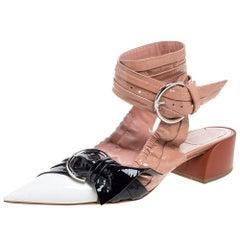 Dior Multicolor Patent Leather Conquest Buckle Detail Ankle Wrap Sandals Size 40