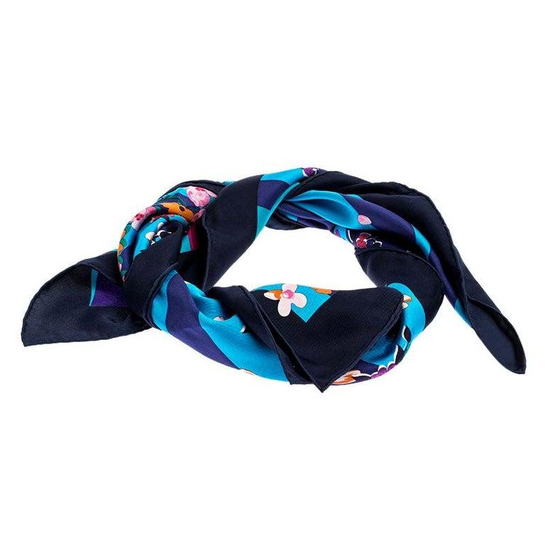 Dior Multicolor Printed Silk Square Scarf For Sale