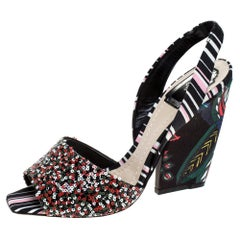 Dior Multicolor Sequins and Fabric Open Toe Slingback Sandals Size 40