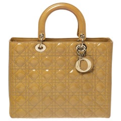 Dior Mustard Cannage Patent Leather Large Lady Dior Tote