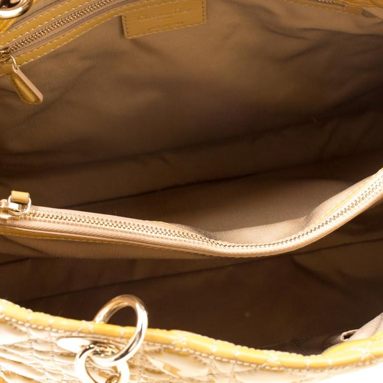 Dior Mustard Cannage Patent Leather Large Shopping Tote For Sale 2