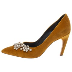 Dior Mustard Yellow Suede Embellished Pointed Toe Pumps Size 40