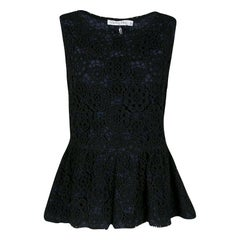 Dior Navy Blue and Black Floral Lace Overlay Sleeveless Peplum Top L