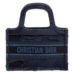 Dior Navy Blue Camouflage Canvas Mini Book Tote