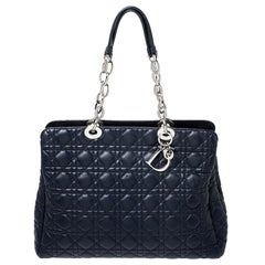 Dior Navy Blue Cannage Leather Lady Dior Zipped Shopper Tote