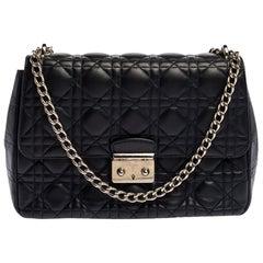 Dior Navy Blue Cannage Leather Medium Miss Dior Flap Bag