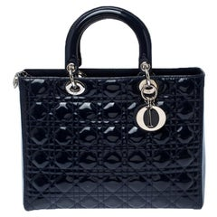 Dior Navy Blue Cannage Patent Leather Large Lady Dior Tote