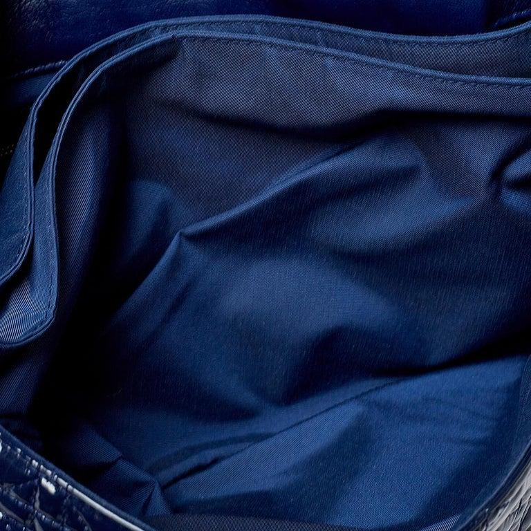 Dior Navy Blue Cannage Patent Leather Large New Lock Flap Shoulder Bag 6