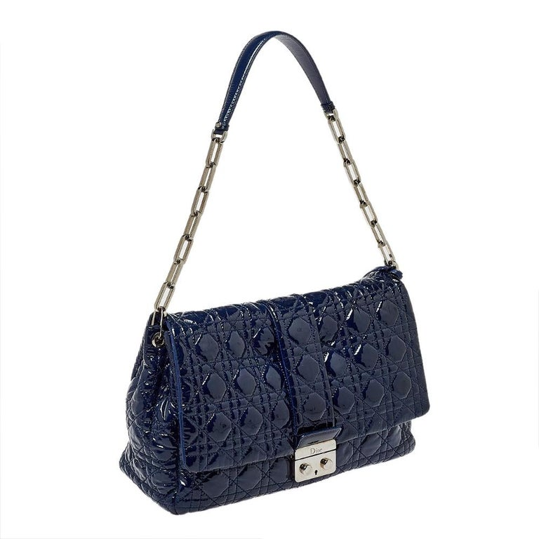Black Dior Navy Blue Cannage Patent Leather Large New Lock Flap Shoulder Bag