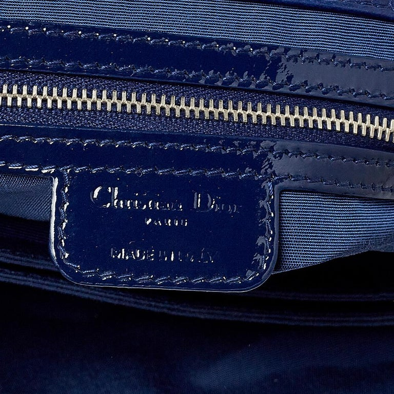 Dior Navy Blue Cannage Patent Leather Large New Lock Flap Shoulder Bag In Good Condition In Dubai, Al Qouz 2