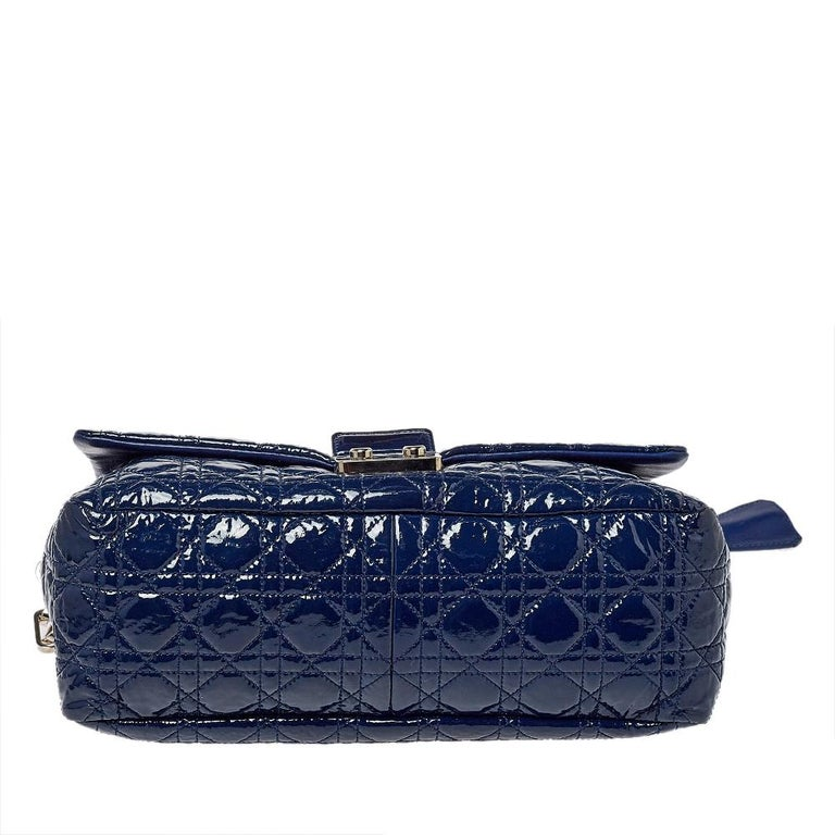 Women's Dior Navy Blue Cannage Patent Leather Large New Lock Flap Shoulder Bag
