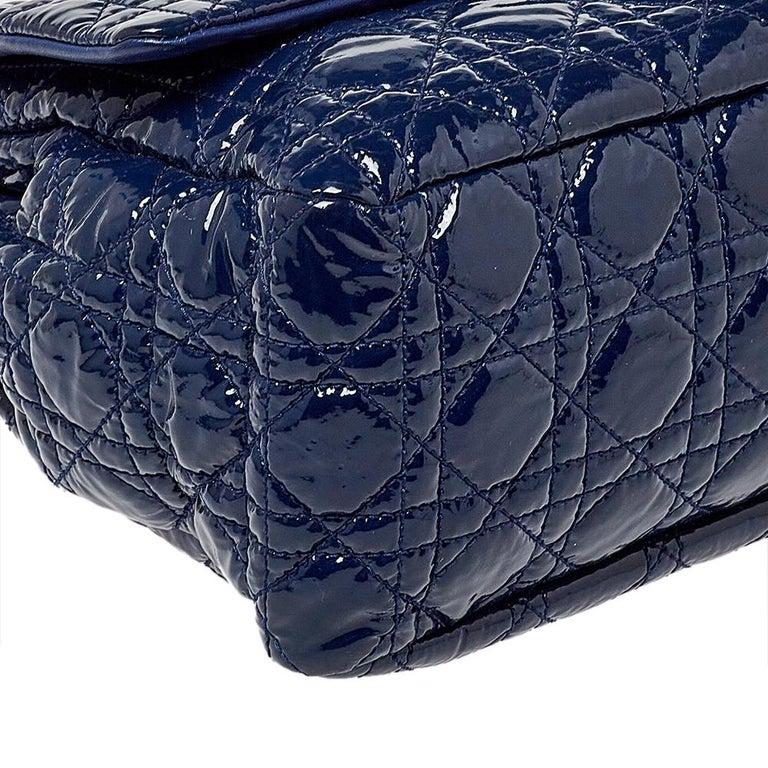 Dior Navy Blue Cannage Patent Leather Large New Lock Flap Shoulder Bag 1