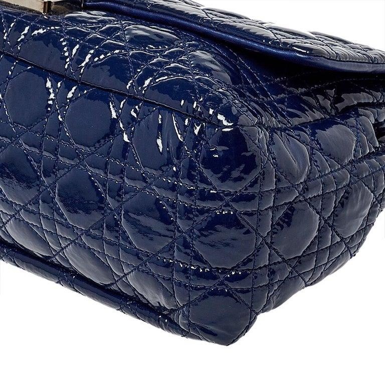 Dior Navy Blue Cannage Patent Leather Large New Lock Flap Shoulder Bag 2