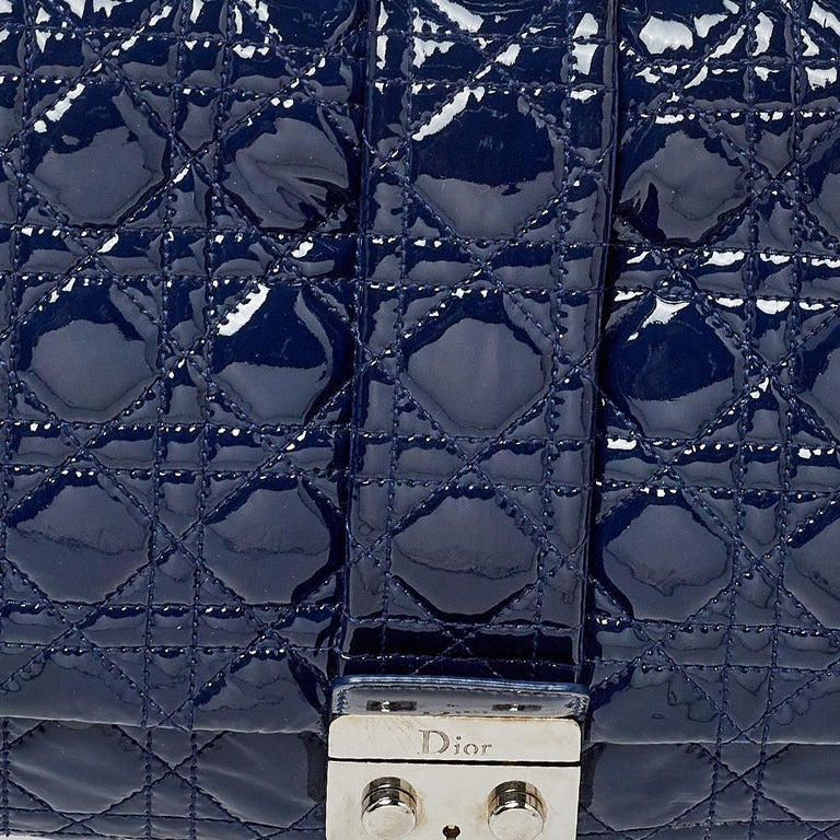 Dior Navy Blue Cannage Patent Leather Large New Lock Flap Shoulder Bag 3