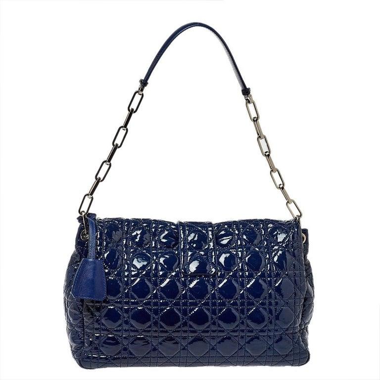 Dior Navy Blue Cannage Patent Leather Large New Lock Flap Shoulder Bag 4