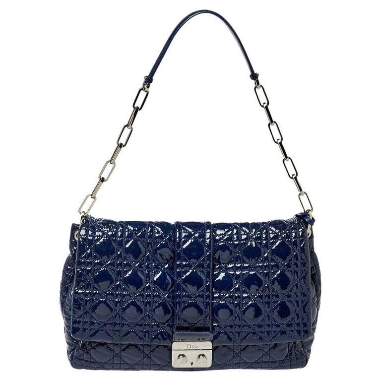 Dior Navy Blue Cannage Patent Leather Large New Lock Flap Shoulder Bag