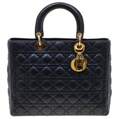 Dior Navy Blue Leather Large Lady Dior Top Handle Bag