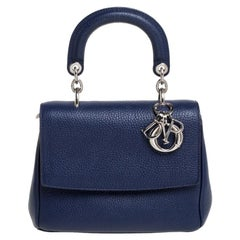 Dior Navy Blue Leather Mini Be Dior Top Handle Bag