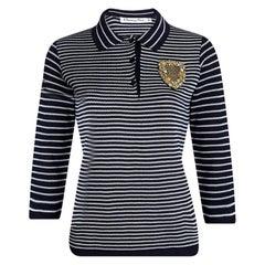 Dior Navy Blue Striped Knit Embellished Long Sleeve Top M