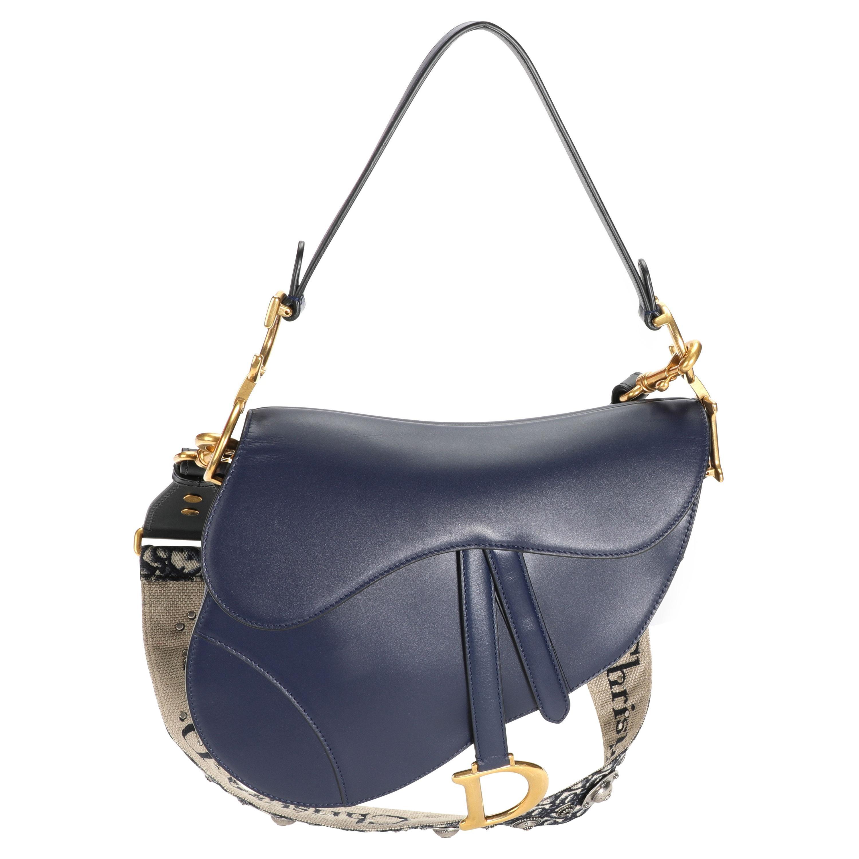 Dior Navy Leather Saddle Bag with Oblique Bandoulière Strap