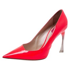 Dior Neon Red Patent Leather Songe Pointed Toe Pumps Size 41