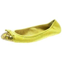 Dior Neon Yellow Patent Cannage Leather Icon Metal Cap Toe Bow Ballet Flats 38