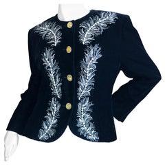Dior Numbered Demi Couture Lesage Plume Embellished Black Velvet Evening Jacket