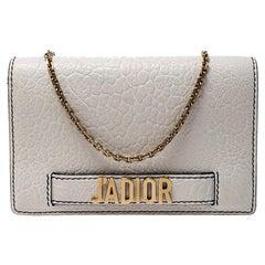 Dior Off White Leather J'Adior Chain Clutch