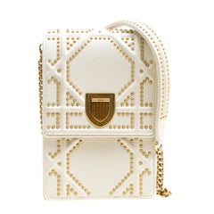 Dior Off White Leather Studded Diorama Vertical Clutch