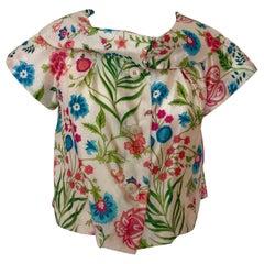 Dior Off-White, Pink, Blue & Green Silk Short Cap Sleeves w/ Shawl Collar Jacket