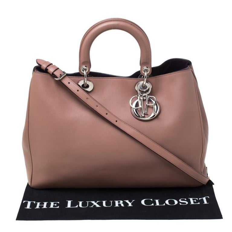 Dior Old Rose Leather Large Diorissimo Shopper Tote 7