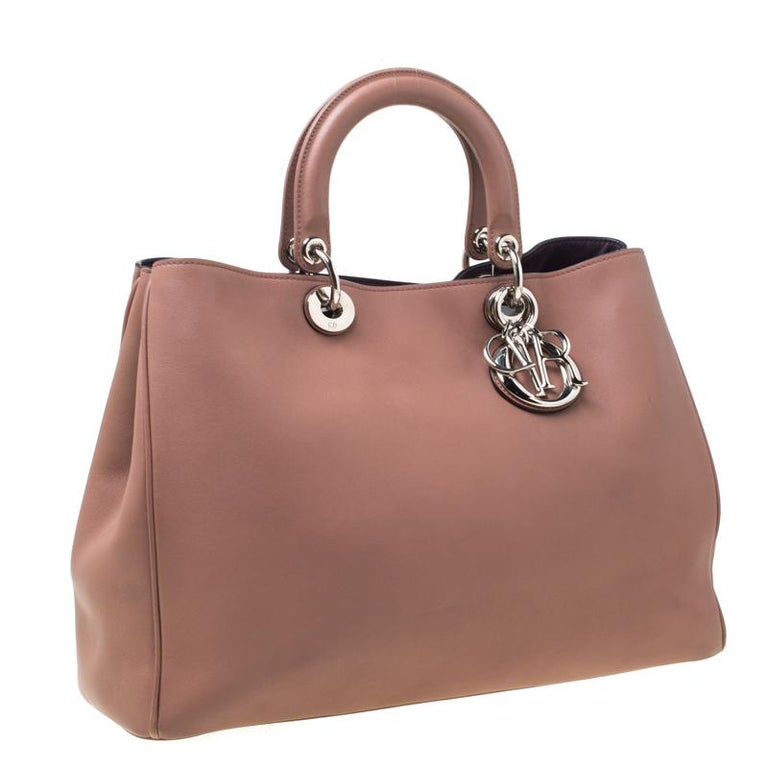 Dior Old Rose Leather Large Diorissimo Shopper Tote In Good Condition In Dubai, Al Qouz 2