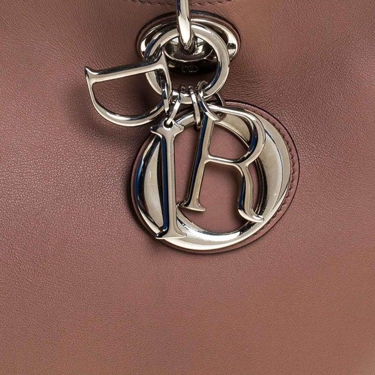 Dior Old Rose Leather Medium Diorissimo Shopper Tote For Sale 6